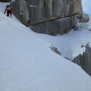 Ausgesetzte Querung beim Gipfelanstieg aufs Birnhorn