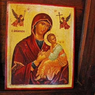 Eine Ikone in der Scheunendachkirche Timios Stavros