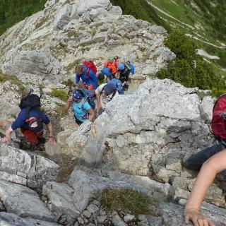 Kletterei im 1. Schwierigkeitsgrad beim Nordaufstieg