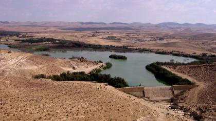 Der Yeruham See von oben