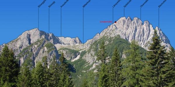 Spitzkofel mit Linderhütte vom Parkplatz der Dolomitenhütte