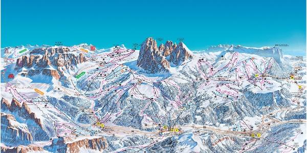 Cartina sciistica Alpe di Siusi/Val Gardena 2017