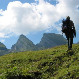 Wanderer vor den Churfirsten