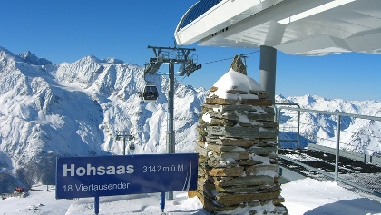 Hohsaas-Bergstation mit Panorama