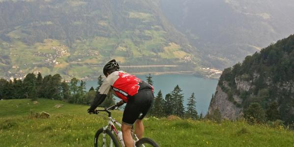 Tiefblick ab Alp Schwaldis