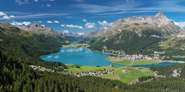 Aussicht auf die Oberengadiner Seenregion