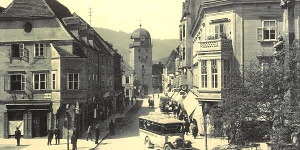Homanngasse mit Schwammerlturm um 1925