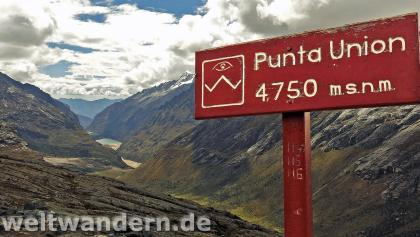 Der höchste Punkt: Die Punta Unión verbindet die Täler von Santa Cruz und Huaripampa.