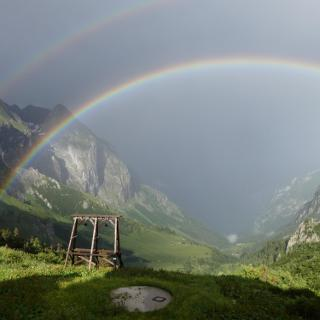 Regenbogen vor dem Hohen Brett vom C.v.Stahl-Haus aus