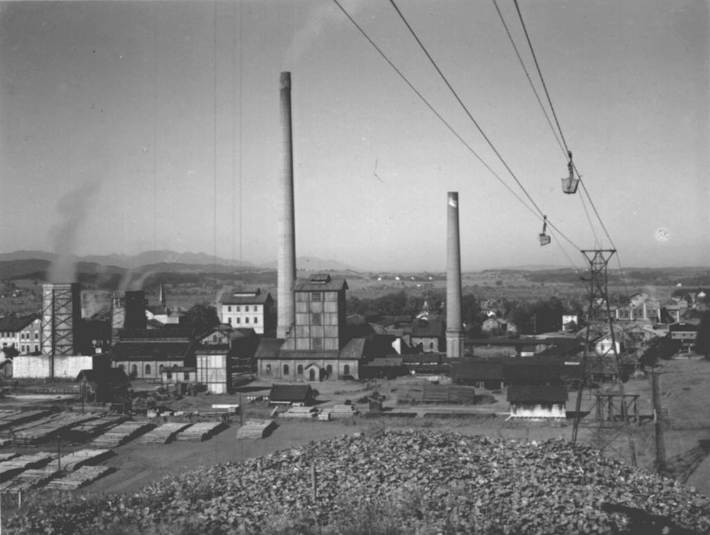 Historische Aufnahme vom Penzberger Bergwerk (Bergwerksmuseum Penzberg)