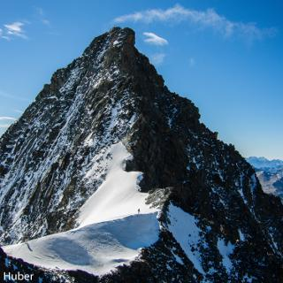 Der obere Teil des Nordwestgrats. Hier beginnt die Felskletterei bei Wahl der Umgehung des Teufelshorns.
