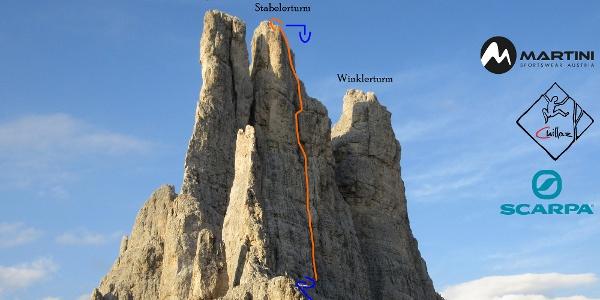Stabelerturm (Vajolettürme) - Topo der Klettertour Fehrmann