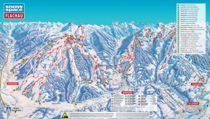 Pistenplan der 3-Täler-Skischaukel (Flachau, Wagrain, St. Johann/Alpendorf)