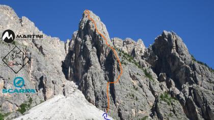 Glückturm Westkante - Übersichtsbild-Topo der Klettertour