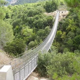 אחד משני הגשרים התלויים במקום