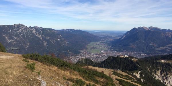 Looking back, one can see Garmisch-Partenkirchen