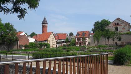 Landesgartenschau 2018 in Burg (Blick von der Ihle zum Wasserturm)