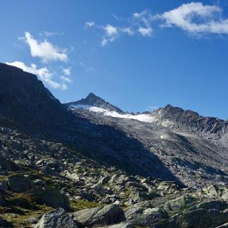 Erster Blick zum Gipfel durch das Wildkar.