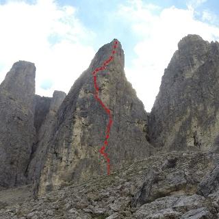 Routenverlauf, Glück-Führe Westwand, Zweiter Sellaturm