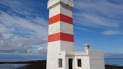 Blick auf den aktuellen Leuchtturm von Garðskagaviti