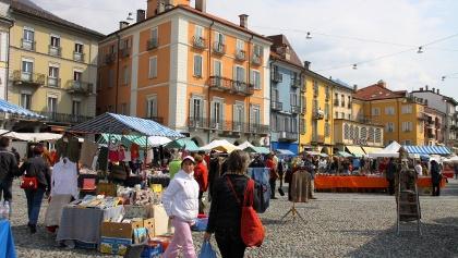 Auf der Piazza Grande in Locarno.