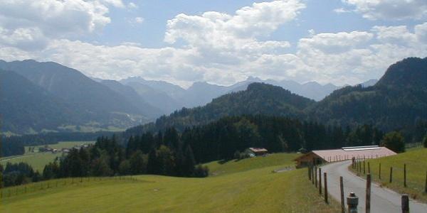 Wegverlauf von Maderhalm in Richtung Langenwang