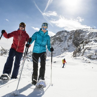 Snowshoe hiking at Valparola in Alta Badia