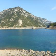 View from our camping spot by Piva lake