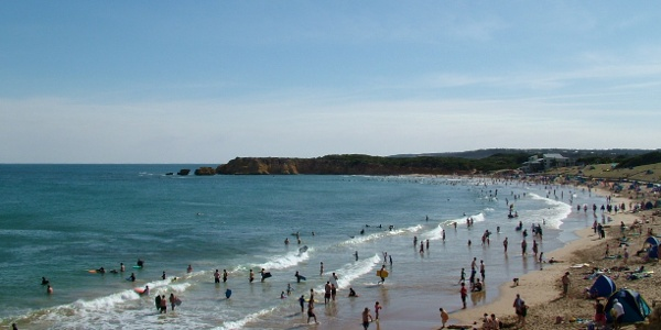 Surfers on the coast at Torquay