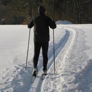 Ein Mann beim Langlauf
