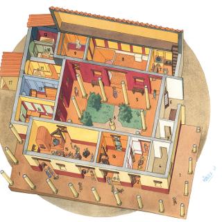 Rekonstruktionszeichnung des Römerhauses mit Blick in die Räume
