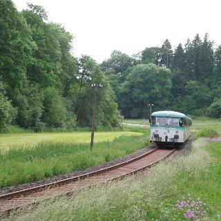 Historischer Triebwagen der SAB (Schwäbische Alb Bahn)