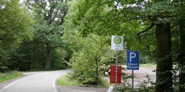 Bushaltestelle und Parkplatz Mitteleiche
