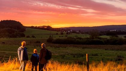 Wanderer am frühen Morgen