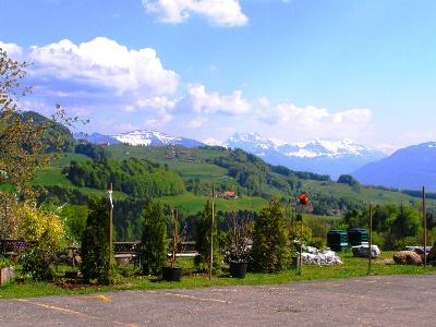 der Blick Rtg. Zürichsee und Alpen öffnet sich