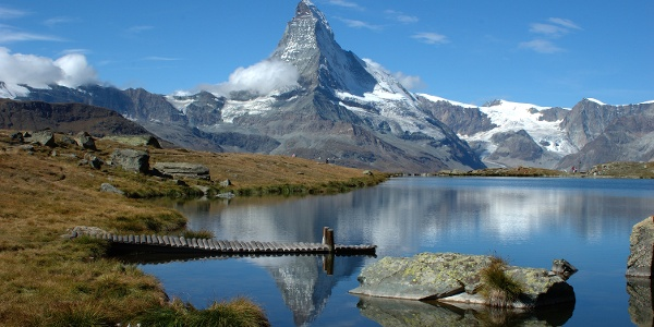 Perfect photoppoint - lake Stellisee with the reflection of the Matterhorn in it