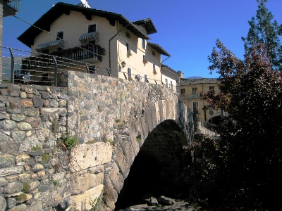 roman bridge at the exit of Aosta