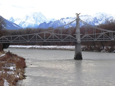 Jugendstil Länderbrücke über Salzach bei Laufen