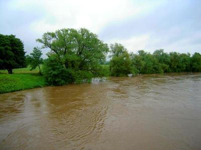 Mulde mit Hochwasser