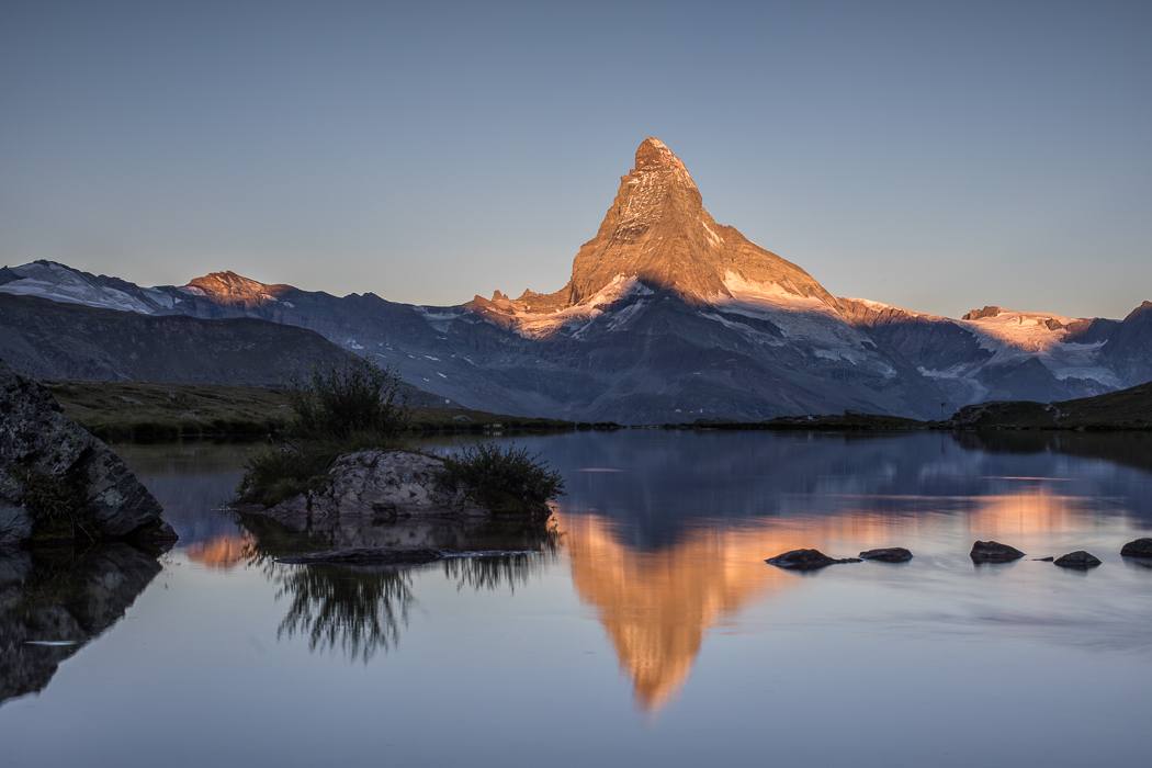 Stellisee lake with reflection of the Matterhorn