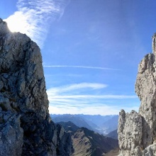Vom Ende der Scharte Blick Richtung Süden ins Lechtal