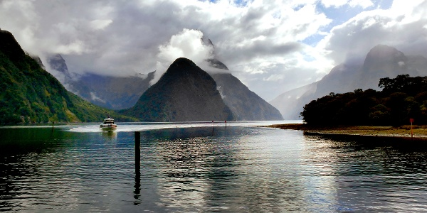 Cloudy fjord Milford Sound