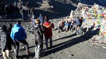 """10-11-17 Thorong La, Passhöhe mit der schnellen """"Miss Nougat"""""""