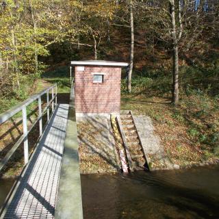 Brücke über den Wahnbach mit Pegel