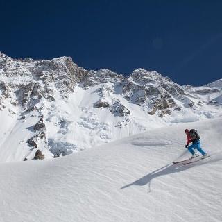 Skiabfahrt der Shishapangma Westseite
