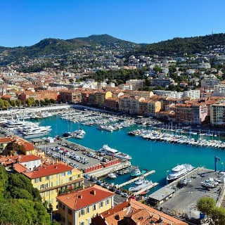 Panoramic view of the port of Nice