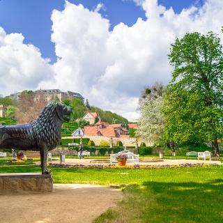 Barockgarten mit dem Braunschweiger Löwen