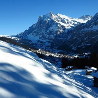 Blick ins Tal von Grindelwald mit Wetterhorn.