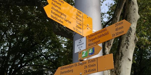 Wegweiser beim Bärenpark Bern.