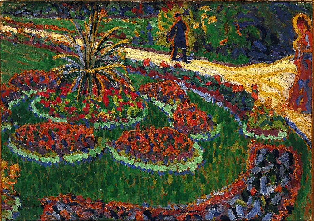 Ernst Ludwig Kirchner, Im Park, 1906, Öl auf Karton (Sammlung Hermann Gerlinger)
